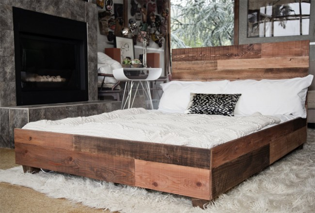 Traditional-wooden-platform-bed-frame-combined-with-soft