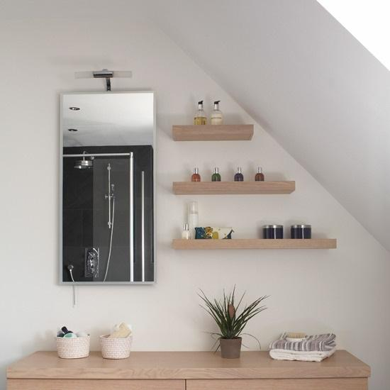 Bathroom open floating shelves decorating ideas dwell - Floating shelf ideas for bathroom ...