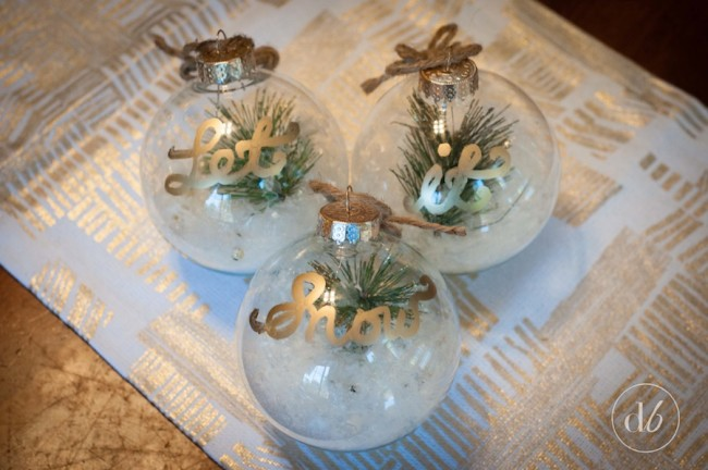 Let it snow ornaments december diy challenge dwell for Clear plastic craft ornaments michaels