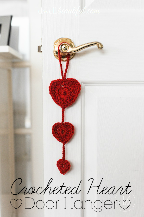 crocheted heart door hanger dwell beautiful