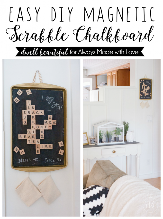 diy magnetic scrabble chalkboard
