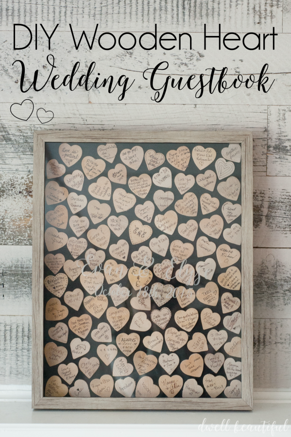 DIY Wooden Heart Wedding Guestbook Idea